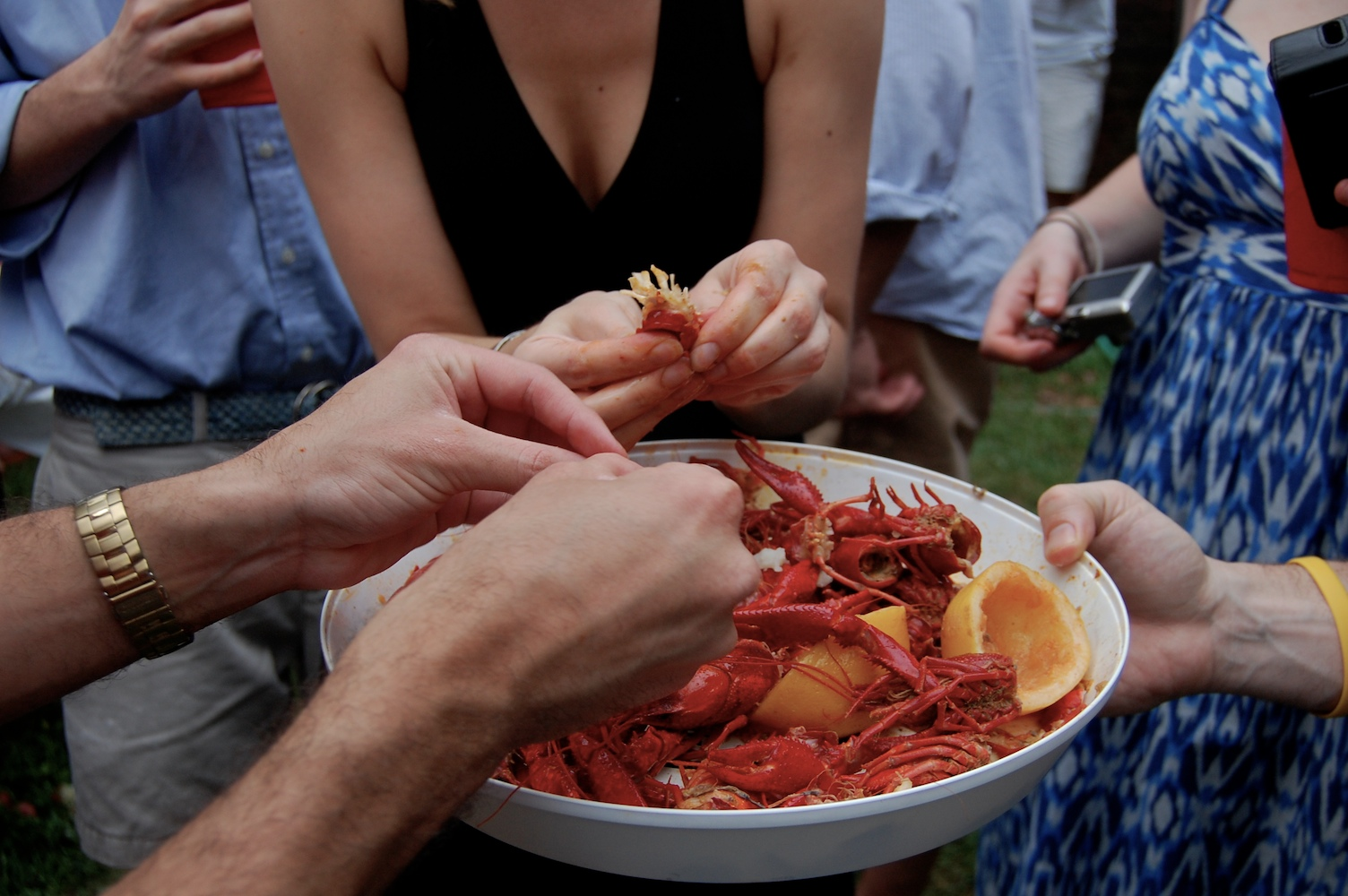 A Crawfish Boil Is A Time To Make Friends See The Above Picture In Which  We Take Turns Holding The Platter And Busting Open The Critters